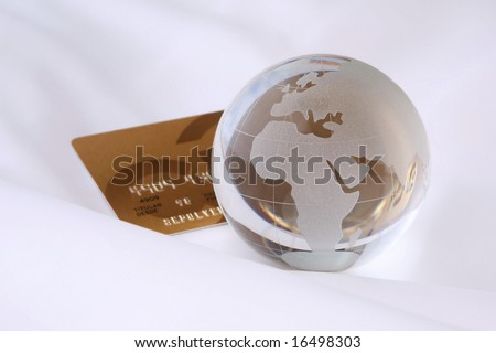 Abstract international gold credit card - stock photo