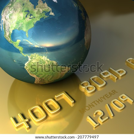 Abstract international gold credit card. Business and travel illustration. Elements of this image are furnished by NASA  - stock photo
