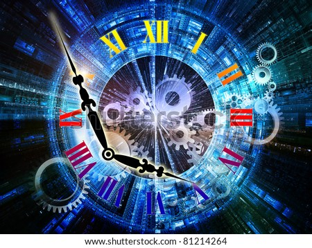 Abstract interplay of clock symbols and graphic elements on the subject of time, technology, past, present and future. - stock photo