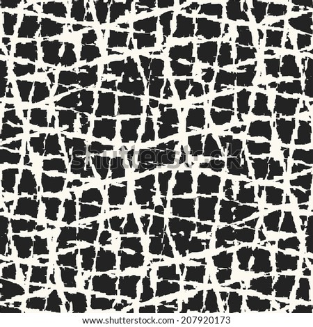Abstract irregular rough checkered textured seamless pattern. - stock photo