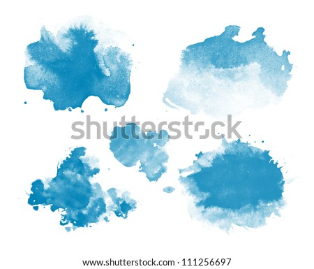 Abstract isolated blue watercolor stains - stock photo