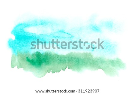 Abstract isolated landscape background painted in watercolor - stock photo
