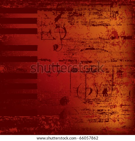 abstract jazz background piano keys on red - stock photo