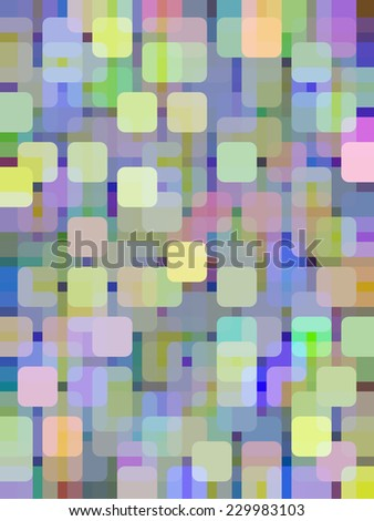 Abstract kaleidoscopic mosaic illustration of city lights arranged as a grid of rounded squares of various colors overlapping for illusion of three dimensions - stock photo