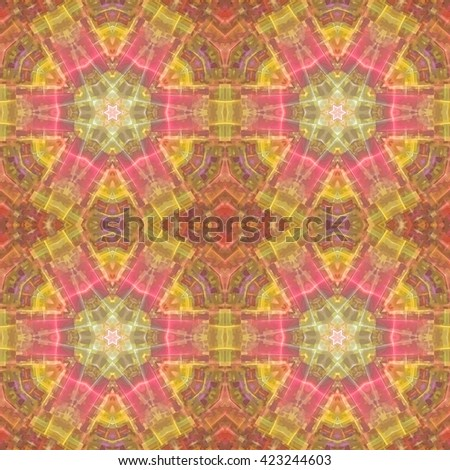 Abstract kaleidoscopic pattern. Seamless tiles with symmetrical pattern. Colorful background template for different design uses. - stock photo