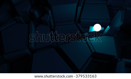 abstract labyrinth with bright glow sphere, finding way of problem solving concept  - stock photo