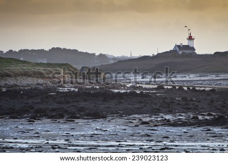 Abstract landscape in low tide in sunset  - stock photo