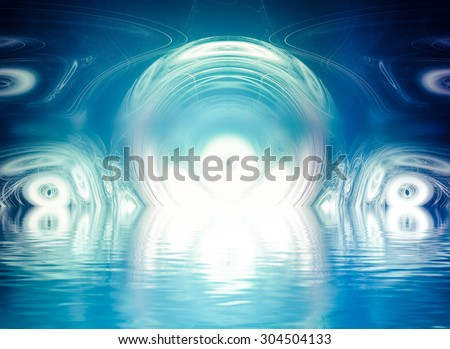 Abstract landscape of colorful fractal foam, light trails and lights suitable as a backdrop for art, music, fantasy and imagination related projects  with water reflection - stock photo