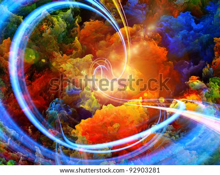 Abstract landscape of colorful fractal foam, light trails and lights suitable as a backdrop for art, music, fantasy and imagination related projects - stock photo