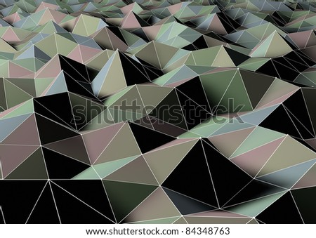 abstract landscape of polygons - stock photo