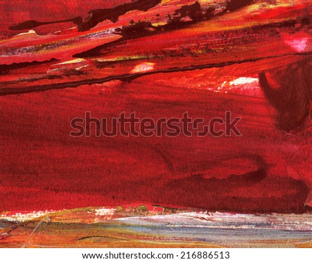 ABSTRACT LANDSCAPE RED SKY OVER THE SEA - stock photo