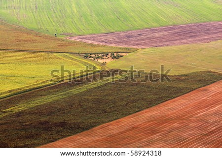 Abstract landscape with multicolored fields - stock photo