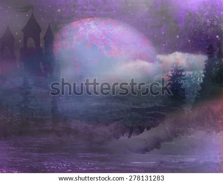 abstract landscape with old castle and moon - stock photo