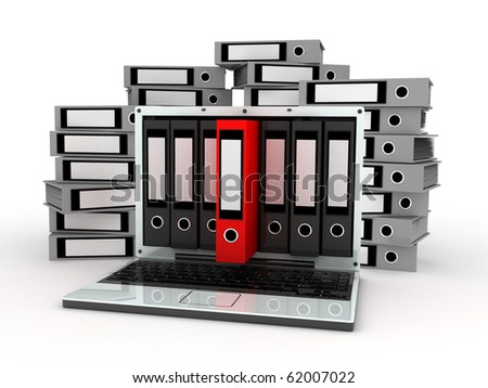 Abstract laptop and files (done in 3d) - stock photo
