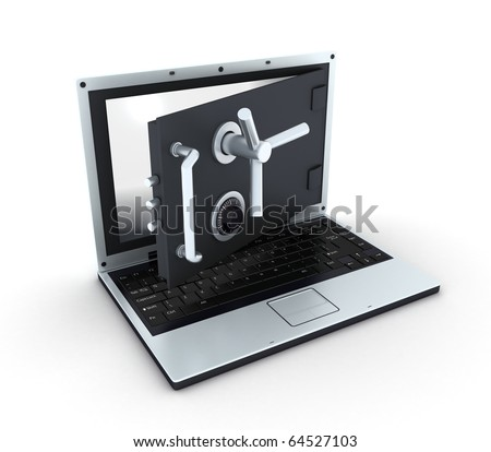Abstract laptop safe (isolated, done in 3d) - stock photo