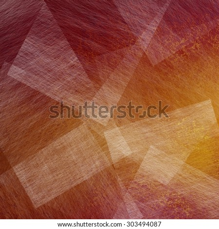 abstract layers of white transparent textured paper on gold and red background paint, cool artsy background design - stock photo