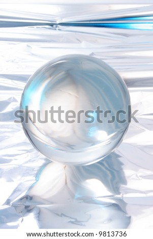 Abstract light around a crystal ball - stock photo