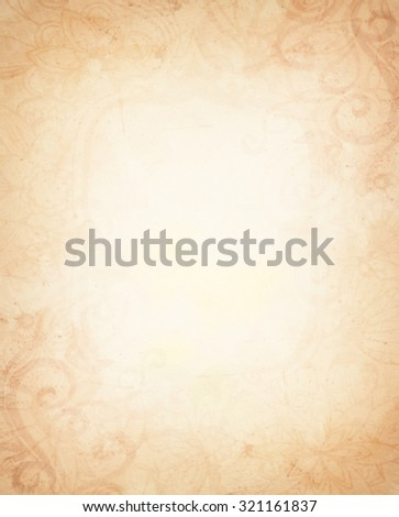 abstract light brown background, yellowed center and dirty grungy sepia vignette shaded border, beautiful vintage background, aged spattered border with artsy curls and curve design elements - stock photo