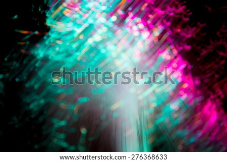 Abstract Light painting, Green tone on black background -  long exposure time lapse and technique and blurred picture style - stock photo