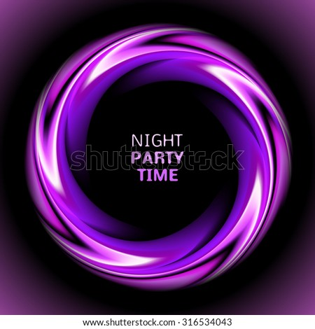 Abstract light purple swirl circle on black background.  illustration for you modern design. Round frame or banner with place for text. Night party time. - stock photo