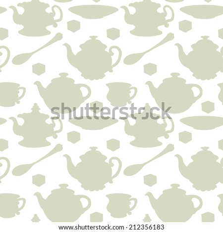 Abstract light seamless pattern with tea cups, coffee cups, teaspoon, saucer and teapots. Endless print silhouette texture. Tea party repeating background. Fabric design. Wallpaper - raster version - stock photo