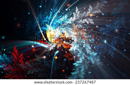 Abstract light trails on winter street. Frosty color pattern for creative design. Festive Christmas background with illuminated blurred effect for wallpaper desktop, poster, cover flyer. Fractal art - stock photo