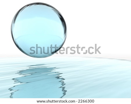 abstract liquid ball and their reflections - stock photo