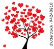abstract love tree for valentine's day, in red black colors - stock photo