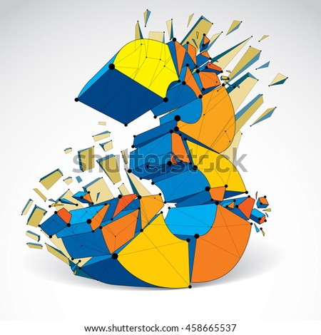 Abstract low poly wrecked number 3 with black lines and dots connected. 3d origami colorful futuristic font with lines mesh. - stock photo