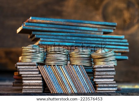 Abstract macro photo of rusty  metal parts form. Selective focus.  - stock photo