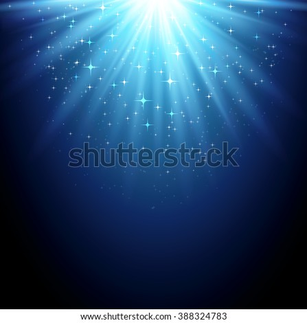 Abstract  magic light backgroud with star. Shiny light background. Blue magic light - stock photo