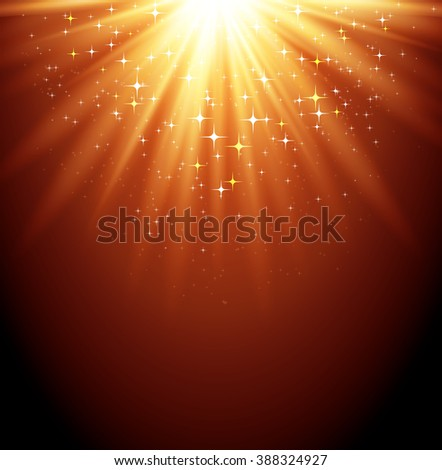 Abstract  magic light backgroud with star. Shiny light background. Gold magic light - stock photo