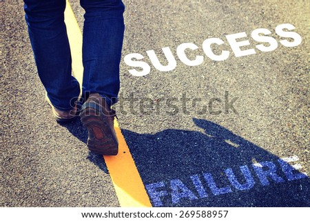 Abstract man walking on the road - stock photo