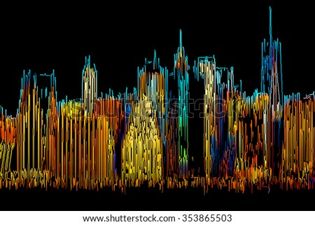 Abstract Manhattan. Morning New York City skyline painted by color lines on a black background - stock photo