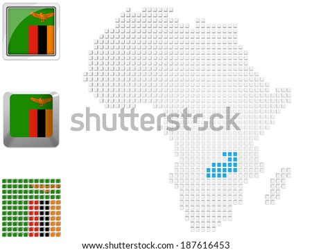 Abstract map of Africa with highlighted Zambia and national flag - stock photo