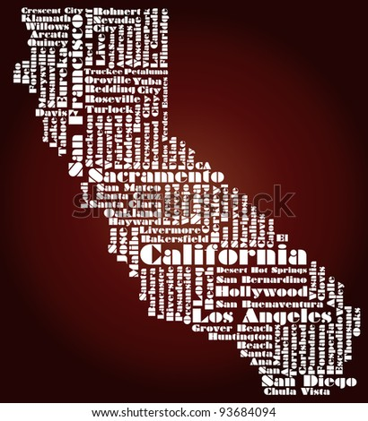 abstract map of California state - word cloud - stock photo