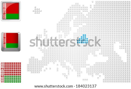 Abstract map of Europe with highlighted Belarus and national flag - stock photo