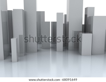 Abstract metal cubic surface - abstract city - stock photo