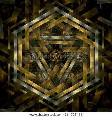 Abstract metal gold fractal hexagon in black background - stock photo