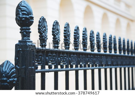 abstract  metal in englan london    railing steel and background - stock photo