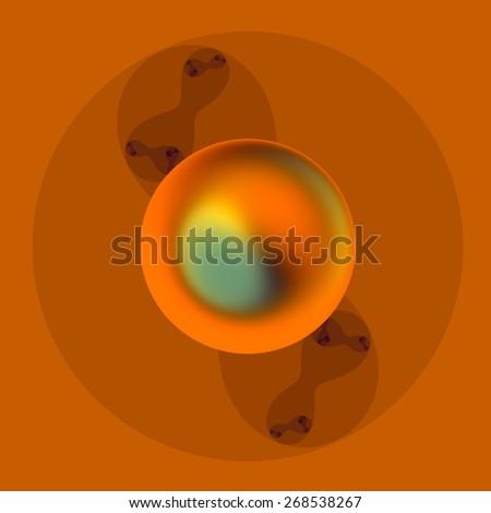 Abstract Metal Sphere. Molecule Art. Geometric Decorative Image. 3d Logo Design. Creative Digital Graphic. Round Golden Object. Spherical Metallic Elements. Conceptual Physics Background. - stock photo