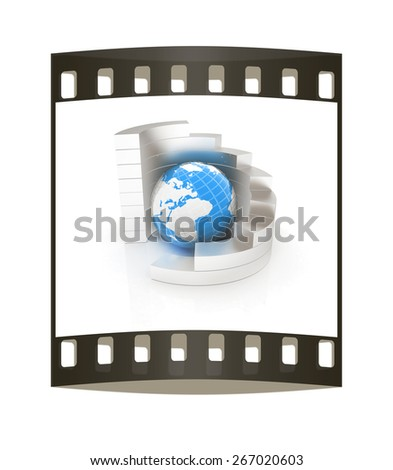 Abstract metall structure with blue earth in the center. The film strip - stock photo