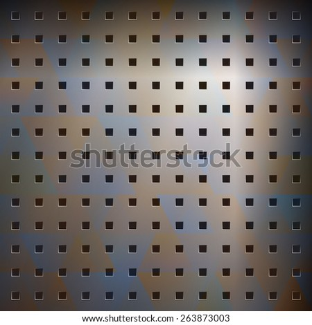 abstract metallic background with regular holes - stock photo