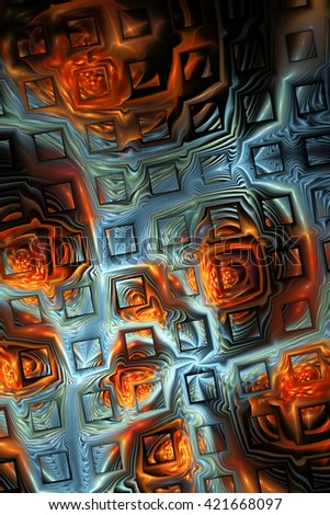 Abstract metallic blue and orange puzzles on black background. Creative fractal design for greeting cards or t-shirts. - stock photo