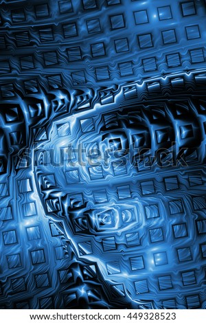 Abstract metallic blue puzzles on black background. Creative fractal design for greeting cards or t-shirts. - stock photo