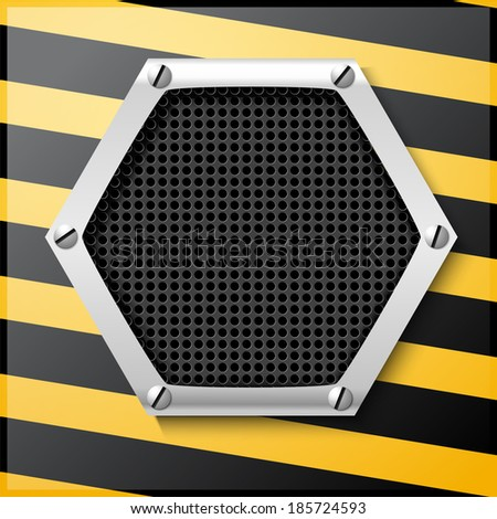Abstract metallic striped black and yellow background - stock photo