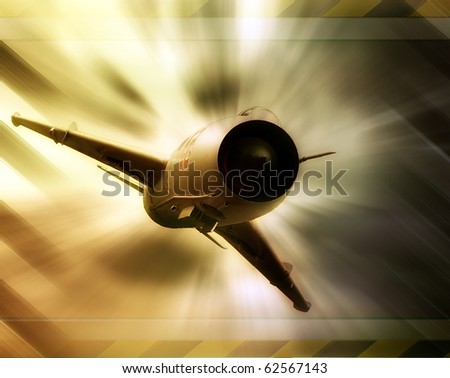 Abstract military fighter jet, abstract futuristic background - stock photo