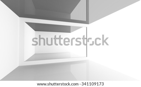 Abstract minimal architecture background. Empty white open space modern room interior, 3d illustration - stock photo