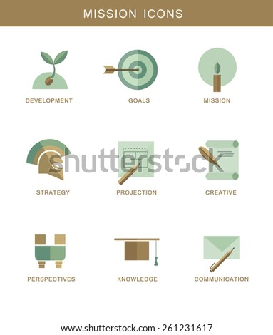 Abstract mission flat design simbol icons - stock photo