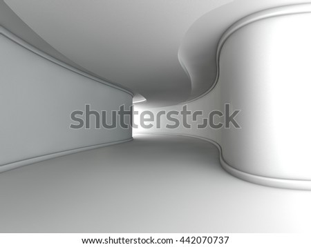 Abstract modern architecture background, empty white open space interior, 3D rendering - stock photo